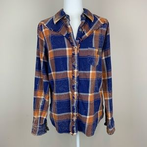 BKE orange and blue distressed flannel button down